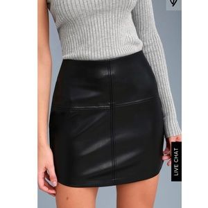 Lulu's Black Vegan Leather Mini Skirt